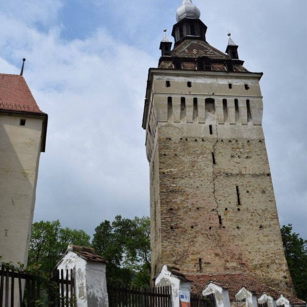 The fortified church of Saschiz village, and its bell tower.