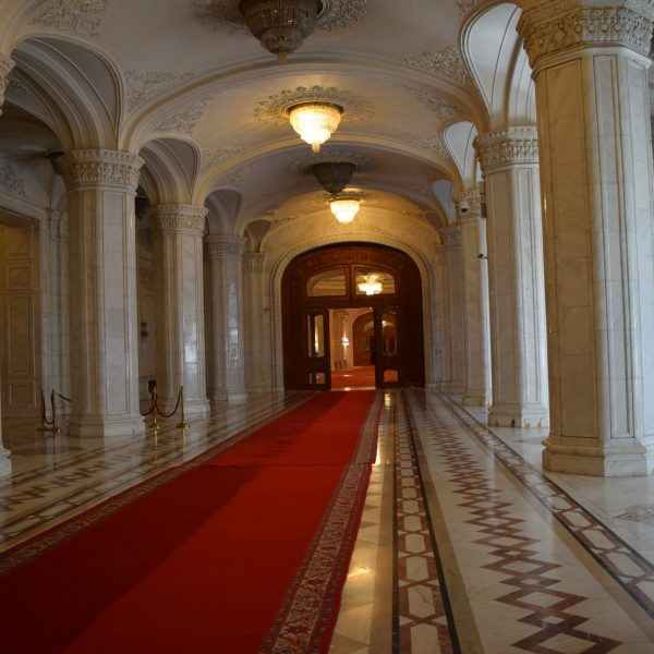 The long corridors of the Palace of Parliament.