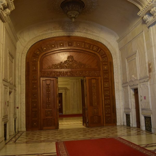 Giant doors of the Palace of Parliament.