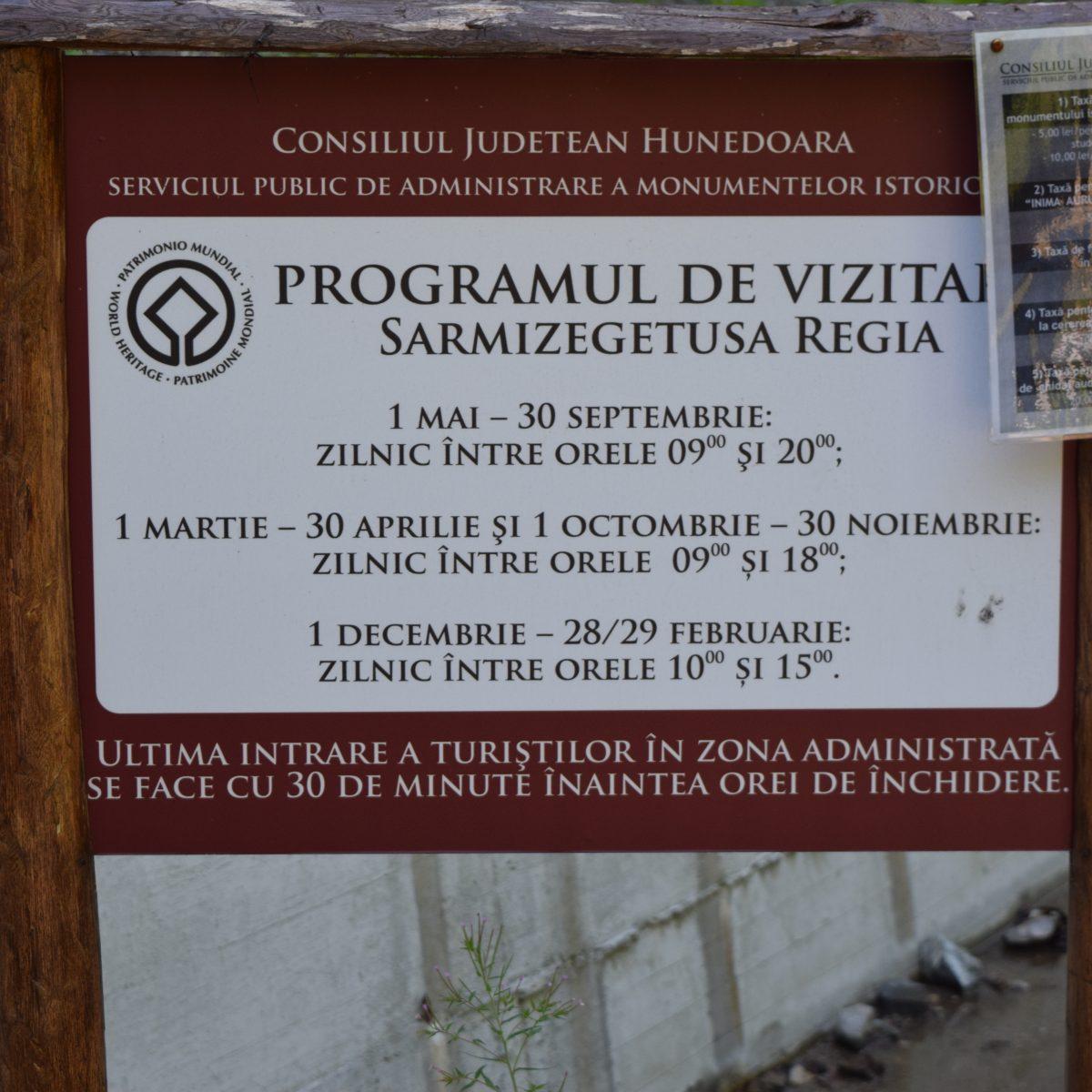 Horaires d'ouvertures de Sarmizegetusa Regia.